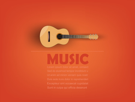 info graphic design vector of acoustic guitar with music text and copy space,realistic retro design, music design concept, music info graphic design poster