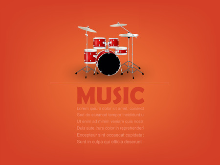 drum set: info graphic design vector of drum set with music text and copy space,realistic retro design, music design concept, music info graphic design poster Illustration
