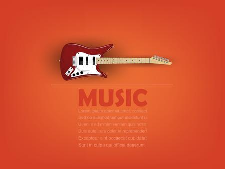 エレク トリック ギター音楽テキストとコピー スペース、現実的なレトロなデザイン、音楽デザイン コンセプト、音楽情報グラフィック デザイン ポスター付けの情報グラフィック デザイン ベクター