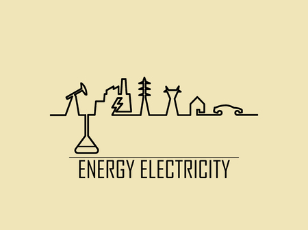 mono line illustration vector of home electricity energy power system consist of fossil fuel, power plant, transmission tower, house and electric vehicle  イラスト・ベクター素材