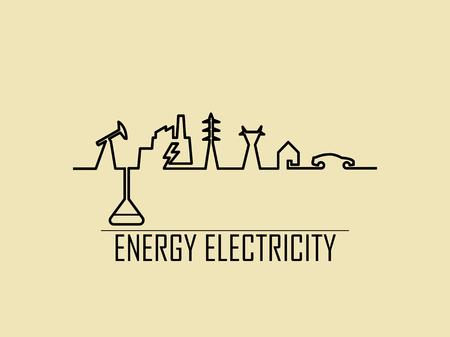 모노 라인 그림 벡터 집 전기 에너지 전원 시스템의 화석 연료, 발전소, 전송 타워, 집 및 전기 자동차 구성됩니다.