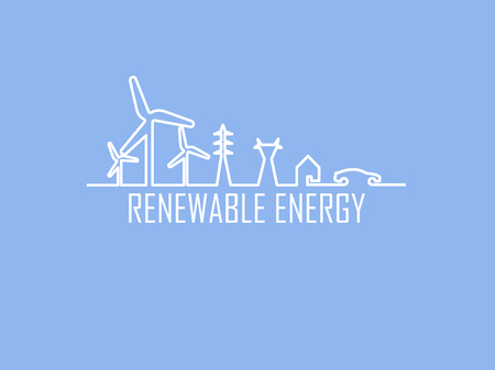 electric vehicle: mono line illustration vector of home electricity renewable energy power system consist of renewable energy wind turbine, transmission tower, house and electric vehicle Illustration