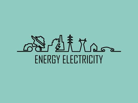 화석 연료, 발전소, 송전 타워, 주택 및 전기 자동차로 구성된 가정 전기 에너지 동력 시스템의 모노 라인 그림