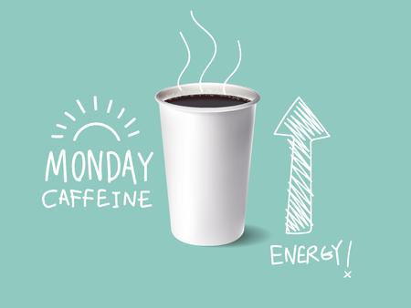 フリーハンドとコーヒーのガラスのリアルなイラストを書く本文月曜日カフェイン コーヒー、朝のコーヒー ベクター デザイン コンセプト  イラスト・ベクター素材