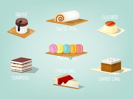 beautiful colorful graphic design illustration of popular sweet bakery cake, carrot cake,souffle cake, custard cake, tiramisu cake, swiss roll cake, cheese cake and macarons