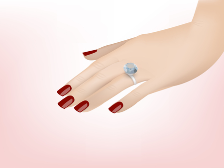woman close up: beautiful illustration vector design of close up of hand of woman showing the ring with beautiful diamond. graphic design concept of engaged