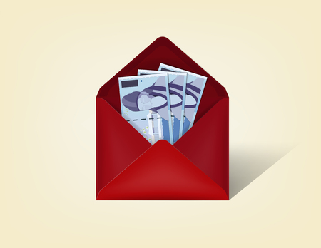 cash money: beautiful realistic illustration vector of korean won money cash in red opened envelope isolated on a background, realistic mockup