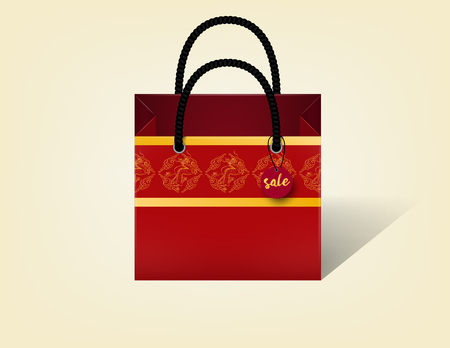 packet: realistic beautiful illustration vector of red chinese dragon texture pattern shopping paper bag empty, chinese shopping bag design concept, chinese traditional texture design