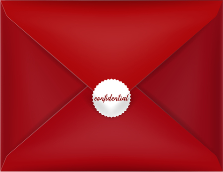red envelope: beautiful realistic illustration vector red envelope, red envelope isolated with confidential red seal on a background, realistic mockup