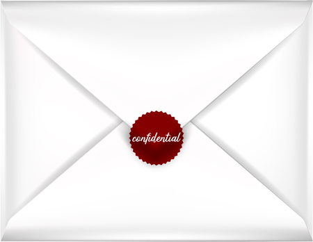 red seal: beautiful realistic illustration vector white envelope, white envelope isolated with confidential red seal on a background, realistic mockup Illustration