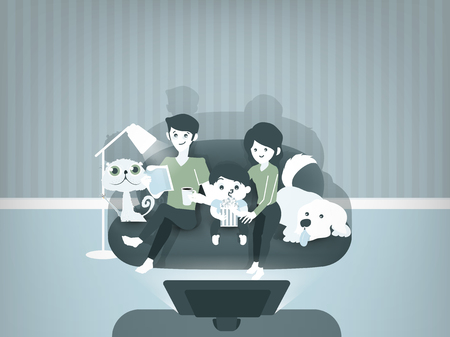 family: beautiful graphic design illustration of family watching movies together,mom,dad,child and pets sitting on against the TV in the home atmosphere, family illustration concept Illustration