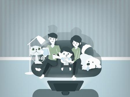 hermosa ilustración diseño gráfico de la familia ver películas juntos, madre, padre, niño y los animales domésticos que se sientan en contra de la televisión en el ambiente de casa, ilustración concepto de familia