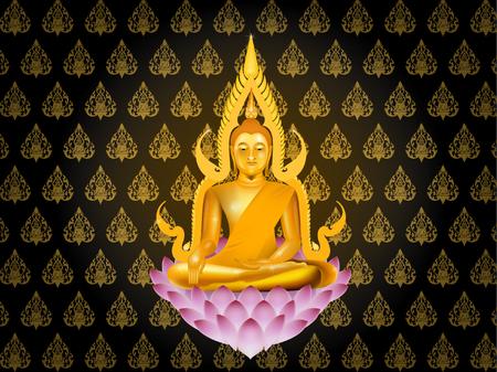 thai buddha: buddha sitting on lotus on thai texture style background, buddhism wallpaper background illustration vector graphic design concept Illustration