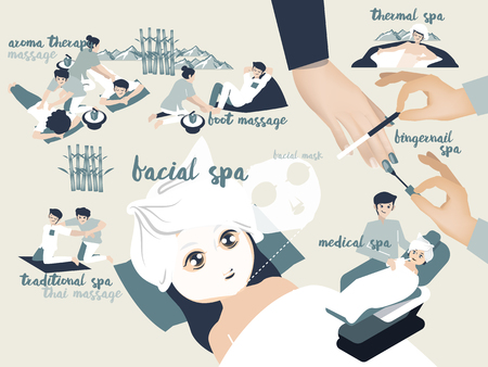 aroma facial: illustration graphic design vector of spa type including aroma therapy massage, traditional spa,foot massage,facial spa,facial mask,thermal spa,fingernail spa and medical spa, spa design concept Illustration