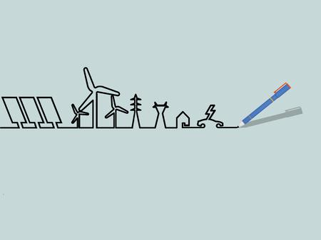Mono line illustration of home electricity renewable energy power system. Illustration