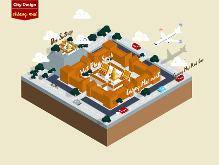 isometric illustration vector graphic design of chiang mai city thailand