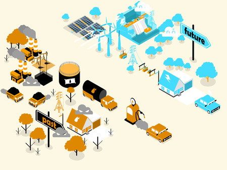 Isometric design of renewable energy and fossil fuel energy. Illustration