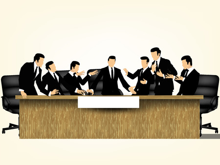 Creative illustration vector of business partners discussing documents and ideas at meeting on the table, meeting corporate success brainstorming teamwork design concept