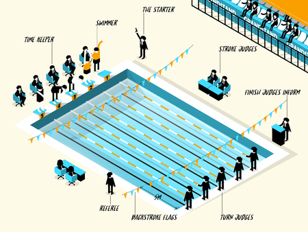 grandstand: isometric illustration vector info graphic of swimming race sport, swimming sport info graphic design concept