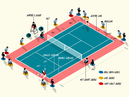 Illustration vector info graphic of tennis court match, tennis sport info graphic design concept