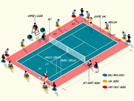 racquetball: Ilustración vectorial información gráfica de la cancha de tenis match, tenis deporte información diseño gráfico concepto