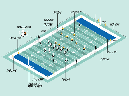 アメリカン フットボールのイラスト ベクター情報グラフィック一致フィールド、アメリカン ・ フットボール スポーツ情報グラフィック デザイン   イラスト・ベクター素材