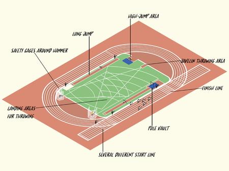 shot put: Illustration info graphic of athletics sport on athletics track, athletics sport info graphic design concept Illustration