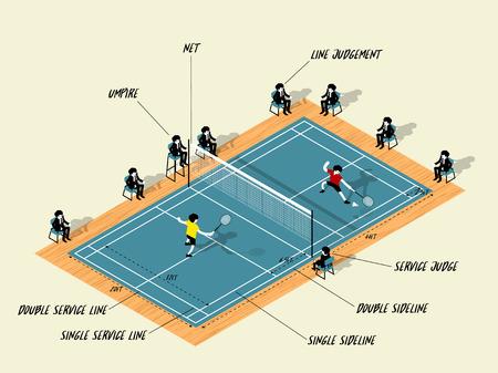 Illustratie vectorinformatie grafisch van de gelijke van het badmintonhof, concept van het de info het grafische ontwerp van de badmintonsport Stock Illustratie