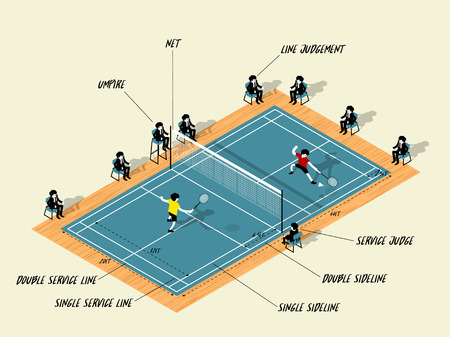 Illustration vector info graphic of badminton court match, badminton sport info graphic design concept Ilustração