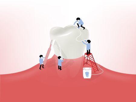 a tooth are beautiful: beautiful illustration vector of little dentists cleaning a giant tooth on gum, dental health design concept