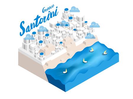 Beautiful isometric style design concept of Santorini island, Greece, the famous tourist island landmark of the world isometric design concept