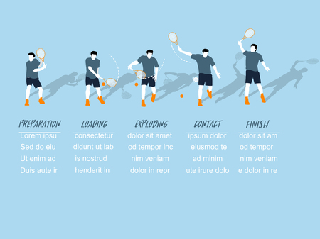 umpire: beautiful info graphic isometric design of the step of tennis back hand swing with copy space, tennis back hand swing info graphic design concept