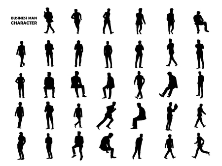 isolated illustartion: Beautiful graphic design silhouette of businessman character