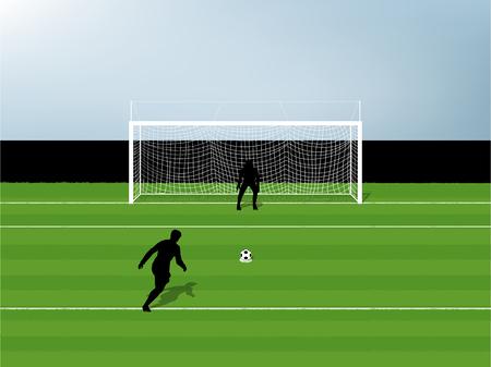 illustration vector of penalty kick soccer training on green glass field