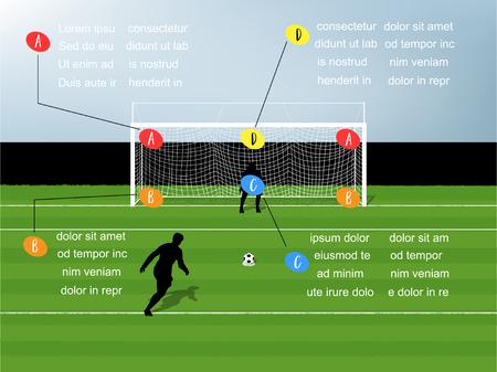 ペナルティ キック サッカーの情報グラフィック イラスト