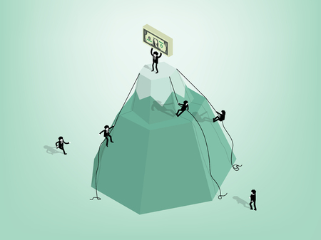 illustration isometric vector of business man climbed to the top of the mountain for success, business man carrying money on the top of the mountain Illustration
