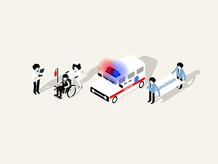 医師医療関係者の図を等角投影図の文字のコレクション。
