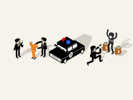 illustration isometric vector of police officer characters collection, police officer design concept Illustration