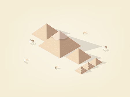 illustration isometric vector graphic design concept of the great pyramid giza of egypt