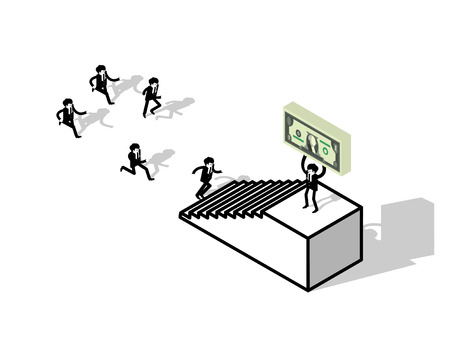 isometric design concept of business man running up stair to success, business man pursuit to success