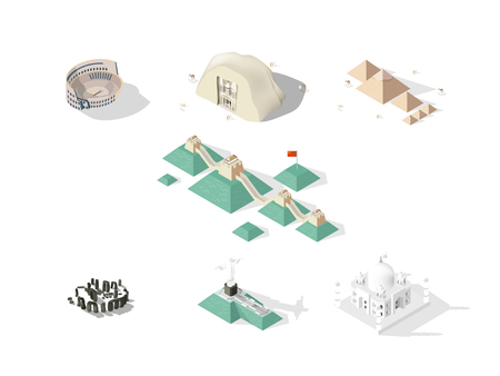 illustration vector isometric design concept of 7 Wonders of the World: Colosseum, Great Wall, Petra, Taj Mahal, Cristo Redentor, Great Pyramid of Giza, stonehenge