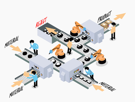 Isometric vector automation production line design concept, factory floor with conveyor and various machines and worker 向量圖像