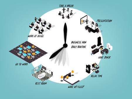 日常生活、ビジネスの男性の日常業務、スケジュールの作業日のビジネスの男性の時計のデザイン コンセプトのイラスト デザイン コンセプト  イラスト・ベクター素材