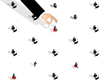 isometric illustration of recruitment design concept, business man choosing office worker from group of business people.