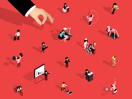Illustration isometric design concept of choose career path, backdrop design of career path, Isometric people of different professions.