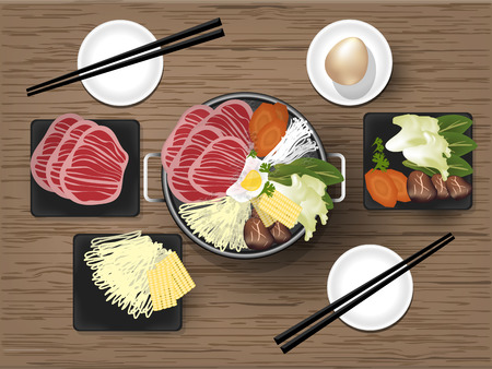 高品質国産牛、卵、麺と野菜を伝統的な鍋、すき焼きグラフィック デザイン コンセプトと日本のすき焼きのイラスト