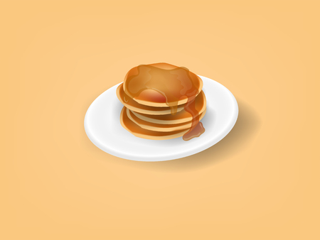 realistic illustration vector graphic design concept of pancakes with honey syrup on top