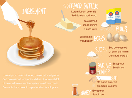 info graphic illustration vector of sweet colorful info-graphic beautiful design of pancakes with honey syrup ingredient recipe, info graphic pancakes dessert design concept Ilustração