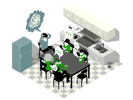 スマート フォン中毒等尺性グラフィック デザイン コンセプト夕食時にダイニング テーブルの上のスマート フォンを使用してファミリのアイソメ図