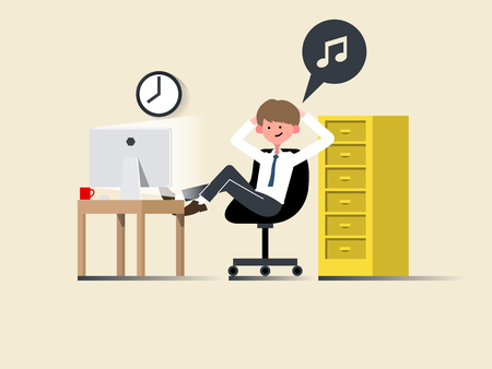 man looking out: illustration vector of happy young business man work and relax in modern office on computer in flat design concept, business man in office flat style design concept